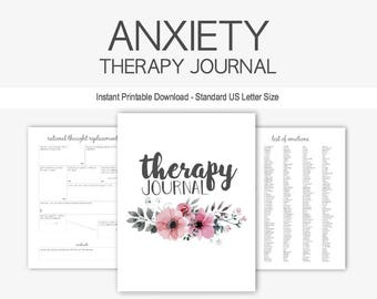 Anxiety Therapy Journal: Instant Printable Download, Mental Health, Depression, Goal Planner, Eating Disorder, Anorexia, PTSD, Grief