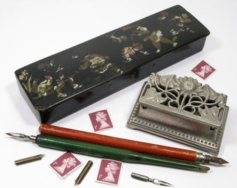 French Stamp Box, French Papier Mache Pencil Box, Two French Dip Pens