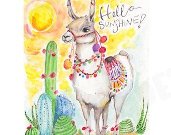 Llama art, llama artwork, llama painting, llama watercolor, peru, peru painting, cactus and llama, llama and cactus, nursery print, kids