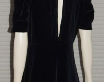 1940s MARGIE JOY Black Velveteen Gown