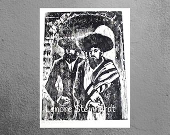 Vintage Black and White Woodcut  Print, Woodblock  JUDAICA, Jewish Art Old Jerusalem,HOLY CITY  Wood Engraving,Lenore Steinhardt 1978 Israel