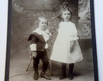 Antique Photo of a Little Boy and Girl Antique Cabinet Card Photograph 6-1/2 x 4-1/4 Circa 1880s
