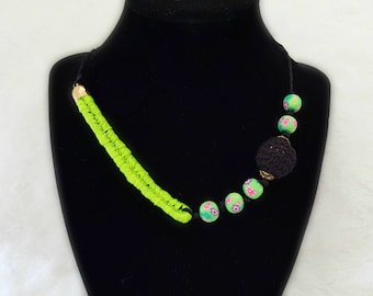 Jewelry Handmade for women NEON green necklace Black beaded necklace Gift for her Floral necklace Bachelorette party jewelry Unusual jewelry
