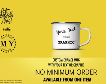 CUSTOM MUG CUP, Custom Enamel Mug, Engraved with Your Custom Sentence, Custom Design Mug