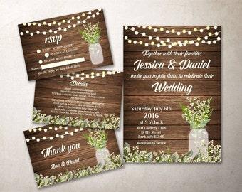 Rustic Wedding Invitation Fall Wedding Invitation Printable