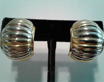 Vintage Landau N.L.H. Clip Earrings Two Tone Gold and Silver Clips Comfort wear signed vintage collectible earrings upscale designer
