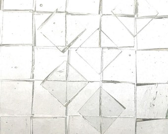 """Transparent Clear Squares Thin Glass 100 3/8"""" Mosaic Jewelry Tiles A44"""