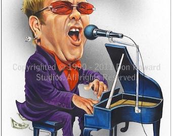 Don Howard's Depiction of Elton John Celebrity Caricature