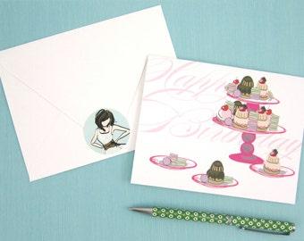 Birthday Card, Note Card, Birthday girl, Sweet Card, Birthday desserts, cupcakes, cake, Happy Birthday