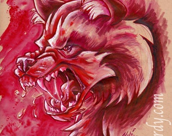 Angry Red Werewolf - Original snarling wolf mixed media painting / drawing