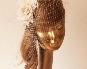 Ivory  BIRDCAGE VEIL with Cream Flower, Vintage Style Bridal FASCINATOR.