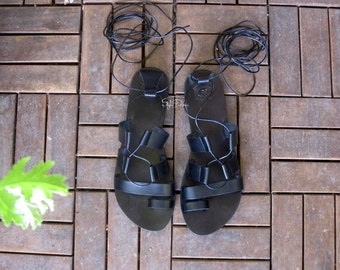 "Greek tie up / lace up gladiator sandals/Real leather sandals/Greek sandals/Flat sandals/ Unisex sandals - JUST ARRIVED! ""Arion"""