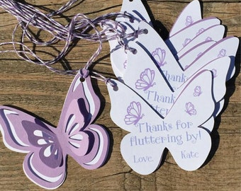 Butterfly Thank You Tags, Favor tags, Gift tags - Shades of Purple & White - Personalized  - baby shower, birthday - set of 8 tags