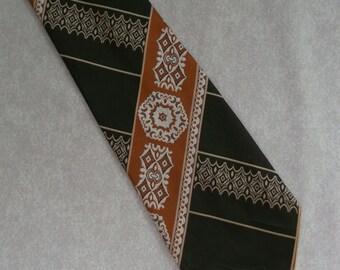 Vintage wide tie by Meritus 1970s dark brown & copper orange patterned funky necktie