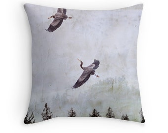 Heron Throw Pillow, Neutral Cushion, Grey Cushions, Heron Cushion, Bird Cushion, Bird Pillow, Bird Decor, Nature Decor, Woodland Pillow