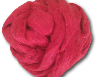 Red Sari Silk Roving Upcycled Recycled For Spinning Felting Fibre Crafts