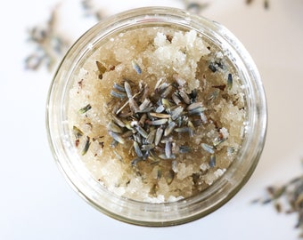 Let's Say Lavender - Organic sugar scrub with French lavender - Vegan, eco friendly, non toxic, glass jar