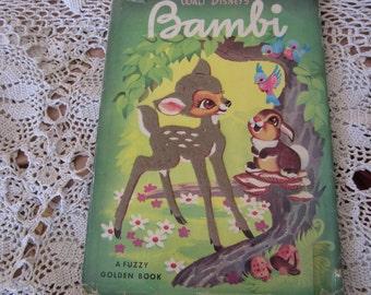 Walt Disney's Bambi A Fuzzy Golden Book Rare 1940's