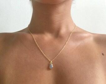 Moonstone Necklace, Teardrop Necklace, Delicate Necklace, Simple Gemstone Necklace, Layered Necklace, Bridesmaid Necklace Gift
