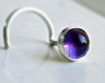 Sterling Silver 4mm Amethyst Nose Stud