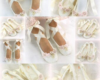 Ivory Lace Wedding Ballet Shoes Slippers Lace Up Bridal Ballet Flats with Flowers and Pearls Comfortable Custom Wedding Flat  Shoes