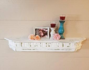 Rustic, cottage style floating shelf.