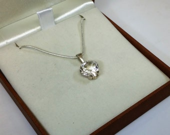 Silver heart pendant-crystal clear vintage SK990