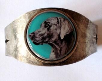 Weimaraner original art cuff bracelet