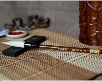 Free Shipping Chinese Calligraphy Material  6.3x1.5cm Goat Hair Brush/JT (Large) - Organic Material Handle - 0003L