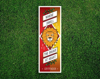 Long Bookmark | Gryffindor Bookmark Where Dwell The Brave At Heart Hogwarts Houses Bookmark Sorting Hat Quidditch Harry Potter Bookmark