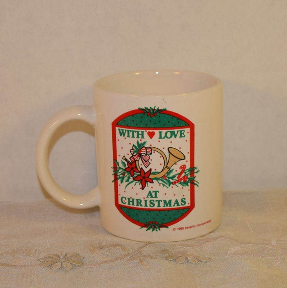 Christmas Mug Vintage With Love at Christmas Cup Red & Green Coffee Cup Christmas Hot Chocolate Christmas Gift Secret Santa Gift