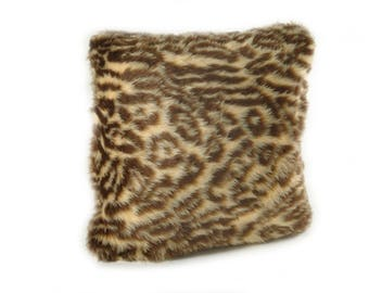Faux Fur Fuzzy Animal Print Pillow with Zippered Bottom