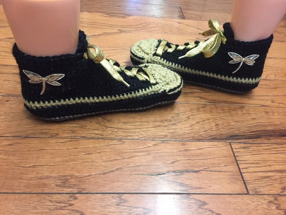 dragonfly List black shoe crochet Crocheted 7 slippers slippers Womens gold sneaker slippers sneakers dragonfly 334 9 shoes dragonfly tennis q044TgwA