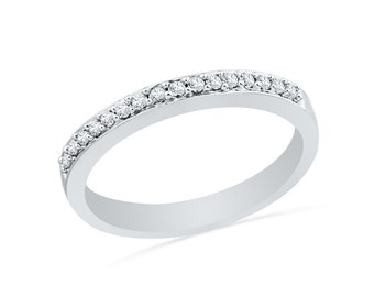 Half Eternity Diamond Wedding Band In 10k White Gold or Sterling Silver, Womens Wedding Band