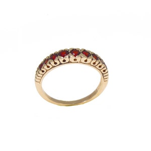 Garnet Ring, 14K Gold Gemstone Ring, Vintage Garnet Ring, 14K Solid Rose Gold Ring, Vintage Ring, Eternity Ring, January Birthstone