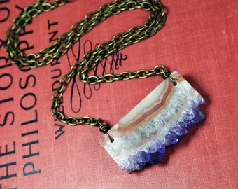 Brazilian Amethyst Druzy Slice Pendant Hand Wrapped Necklace