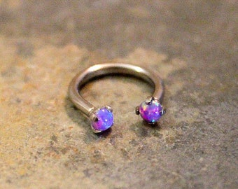Purple Opal Fire Hoop 16G, Lip Ring, Cartilage, Septum, Helix, Nipple, Belly, Eyebrow, Tragus, Rook, Horseshoe Barbell, Custom Ring 16G