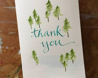 Hand painted water thank you card