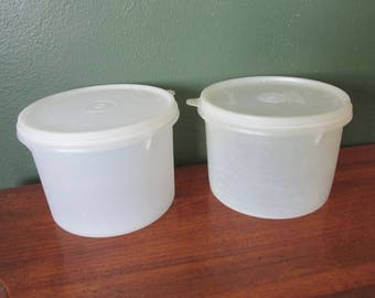 Tupperware Canisters Set of 2  Round 1970s White