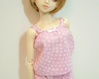 MNF/Minifee/Unoa/Slim MSD Girl Pink & White Flower Jammie Set