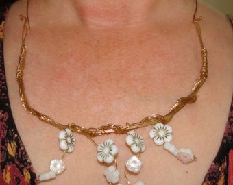 Gold Wire Wrapped and Czech White Glass Flowers Necklace