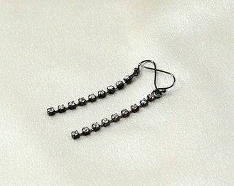 Rhinestone, gunmetal dangle earrings, gifts under 15, gifts for her