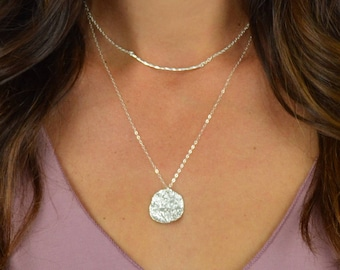 Wavy Disc Necklace || Sterling Silver || 14k Gold Filled