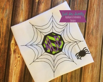 Spiderweb Monogram Halloween Applique Design - Embroidery Machine Pattern spider web