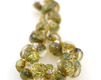 10 Enchanted Teardrop Handmade Lampwork Beads - 11mm (22098)