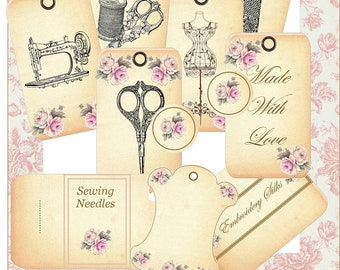 Papercraft Vintage Sewing Labels Tags Needle Thread Winders Instant Download PDF