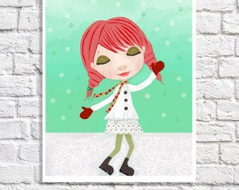 Retro Christmas Illustration Seasonal Wall Art Winter Wonderland Snow Picture Holiday Decoration Little Girl Room Decor Redhead Art Print