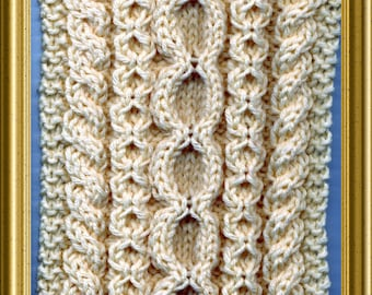 Knit Scarf pattern Aran style knitting pattern