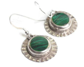 Malachite and Sterling Dangle Earrings Mexico Circular Shape Ear Wires Vintage