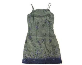 Vintage Floral Silky Tank Dress